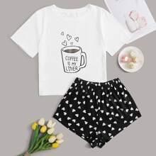 Conjunto de pijama camiseta con estampado de slogan y corazon con shorts