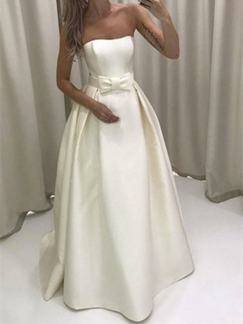 Ericdress Bowknot Strapless Outdoor Wedding Dress
