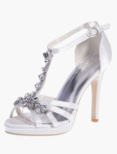 Milanoo Zapatos de novia de saten Zapatos de Fiesta de tacon de stiletto Zapatos plateado  Zapatos de boda de puntera redonda 11cm con pedreria 1.5cm
