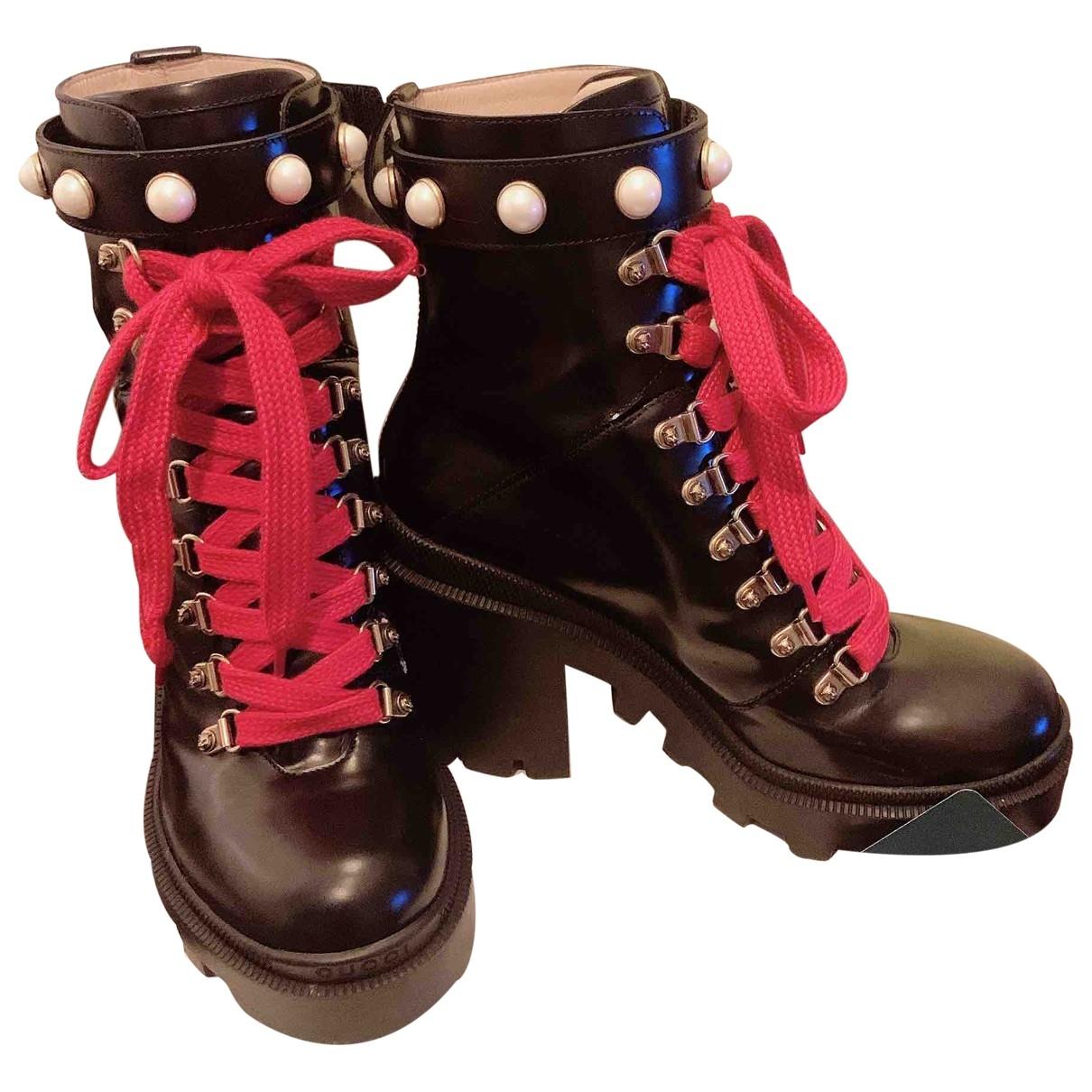 Gucci - Boots Sylvie pour femme en cuir - noir