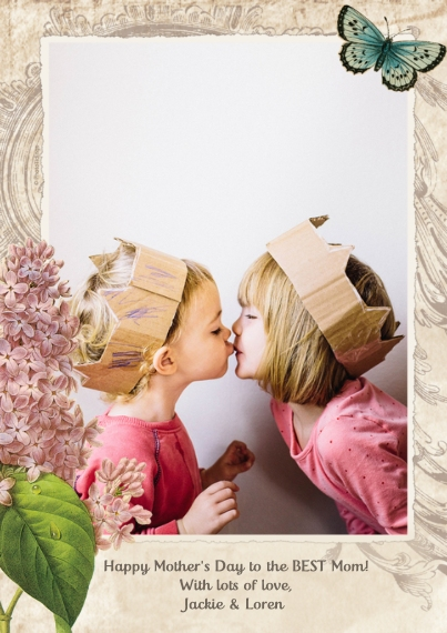 Mother's Day Cards Mail-for-Me Premium 5x7 Flat Card, Card & Stationery -Lilacs And Butterfly