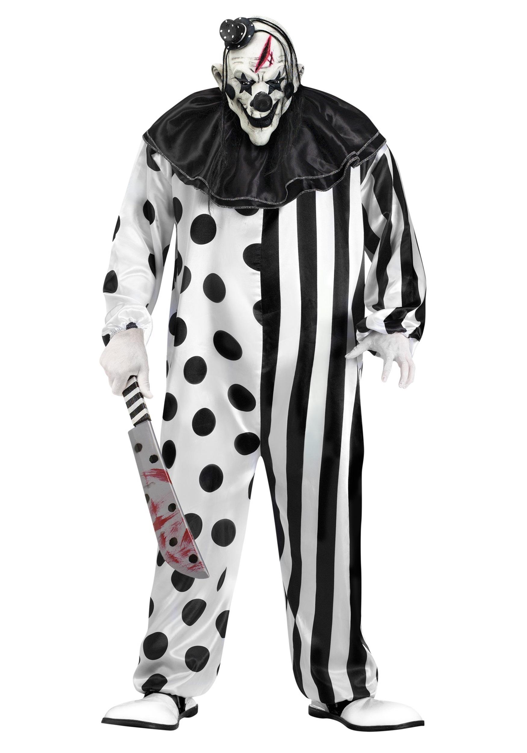 Killer Clown Plus Size Costume for Adults W/ Clown Mask & Jumpsuit