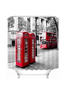 Retro Red Telephone Box and Bus Printing 3D Shower Curtain