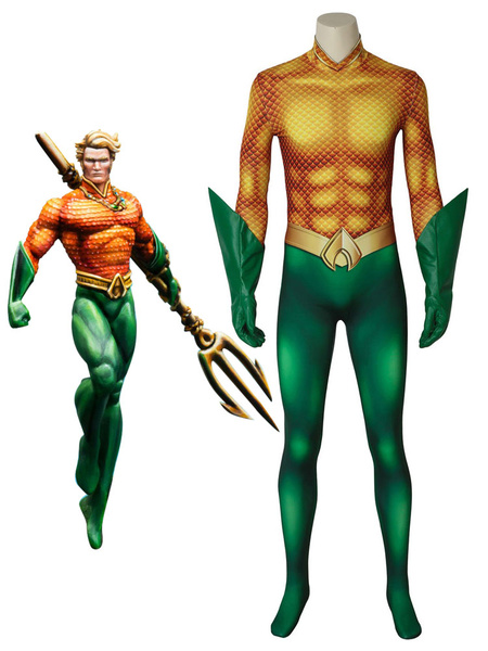 Milanoo Aquaman 2020 Movie Arthur Curry Halloween Cosplay Costume Zentai Suit