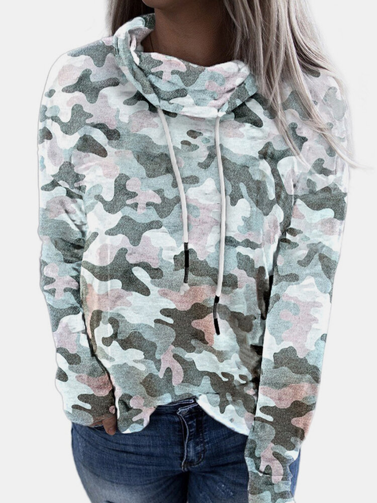 Camouflage Print Dawstring High-neck Plus Size Sweatshirt