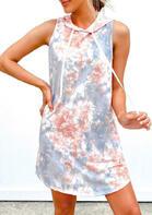 Tie Dye Drawstring Sleeveless Mini Dress without Necklace