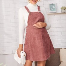 Maternity Pocket Front Cord Overall Dress