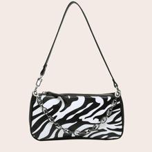Chain Decor Zebra Print Baguette Bag