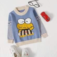Pullover mit Karikatur Muster und Streifen an Ärmeln