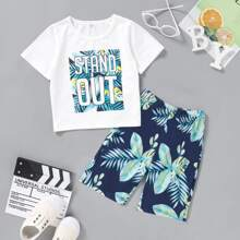 Toddler Boys Letter & Tropical Print Tee With Pants
