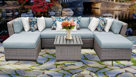 Florence Collection FLORENCE-07a-SPA 7-Piece Patio Set 07a with 2 Corner Chair   2 Armless Chair   2 Ottoman   1 End Table - Grey and Spa