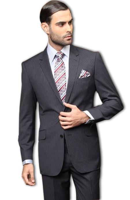 Pick Stitch Collar Slanted Pocket 2 Button Navy Stripe Slim Suit