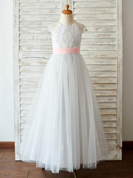 Milanoo Flower Girl Dresses Jewel Neck Lace Sleeveless Floor-Length Princess Silhouette Beaded Kids Social Party Dresses