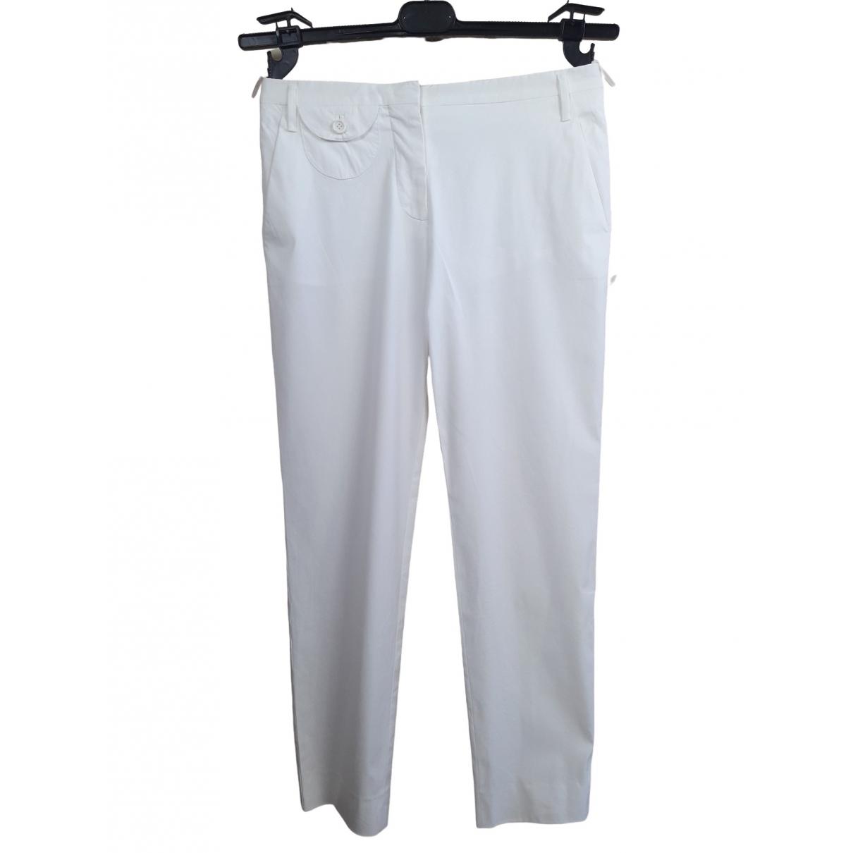 Prada \N White Cotton Trousers for Women 40 IT