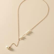 Faux Pearl Decor L Lariat Necklace