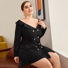 Plus Off Shoulder Double-breasted Blazer Dress Without Belt