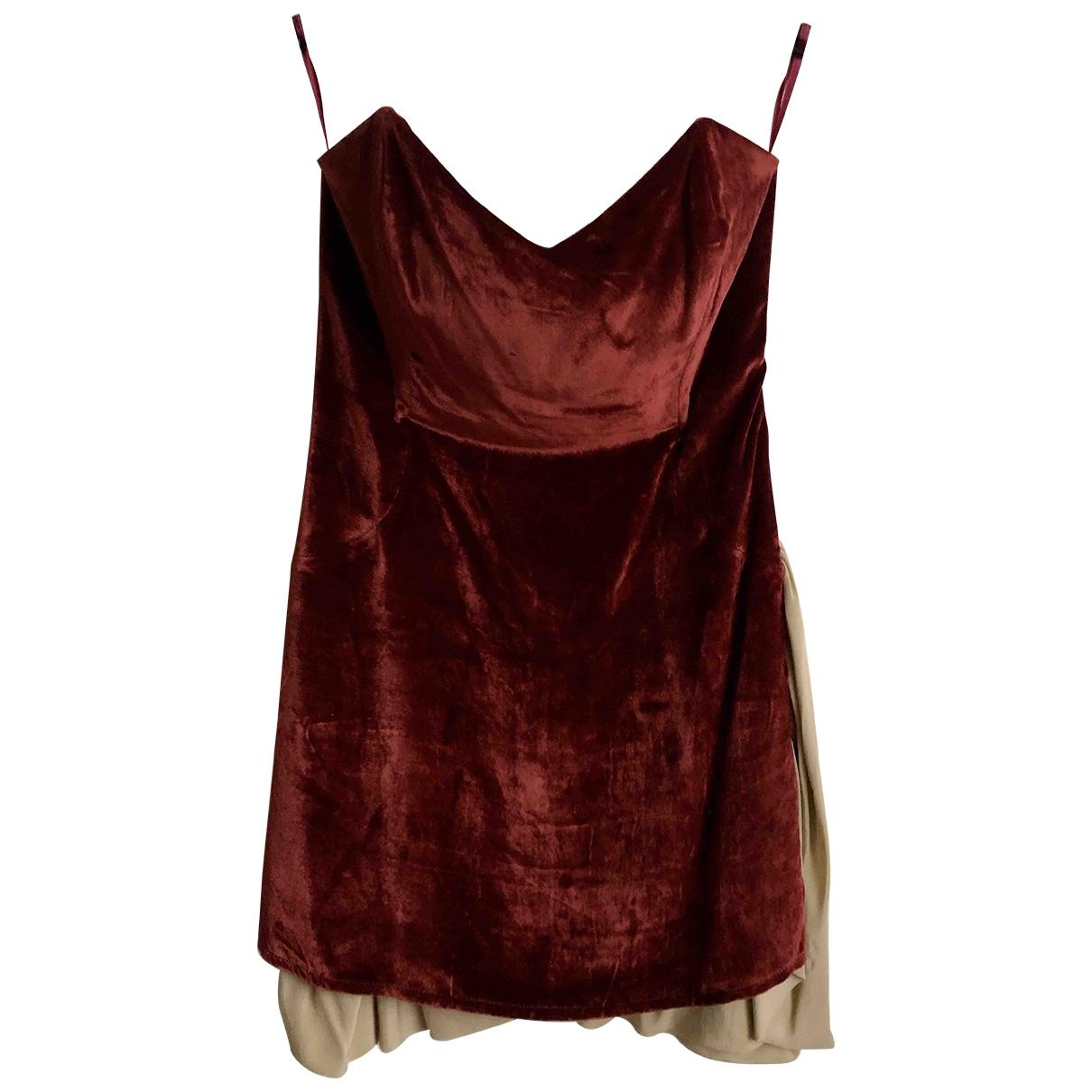 - Robe   pour femme en velours - rouge