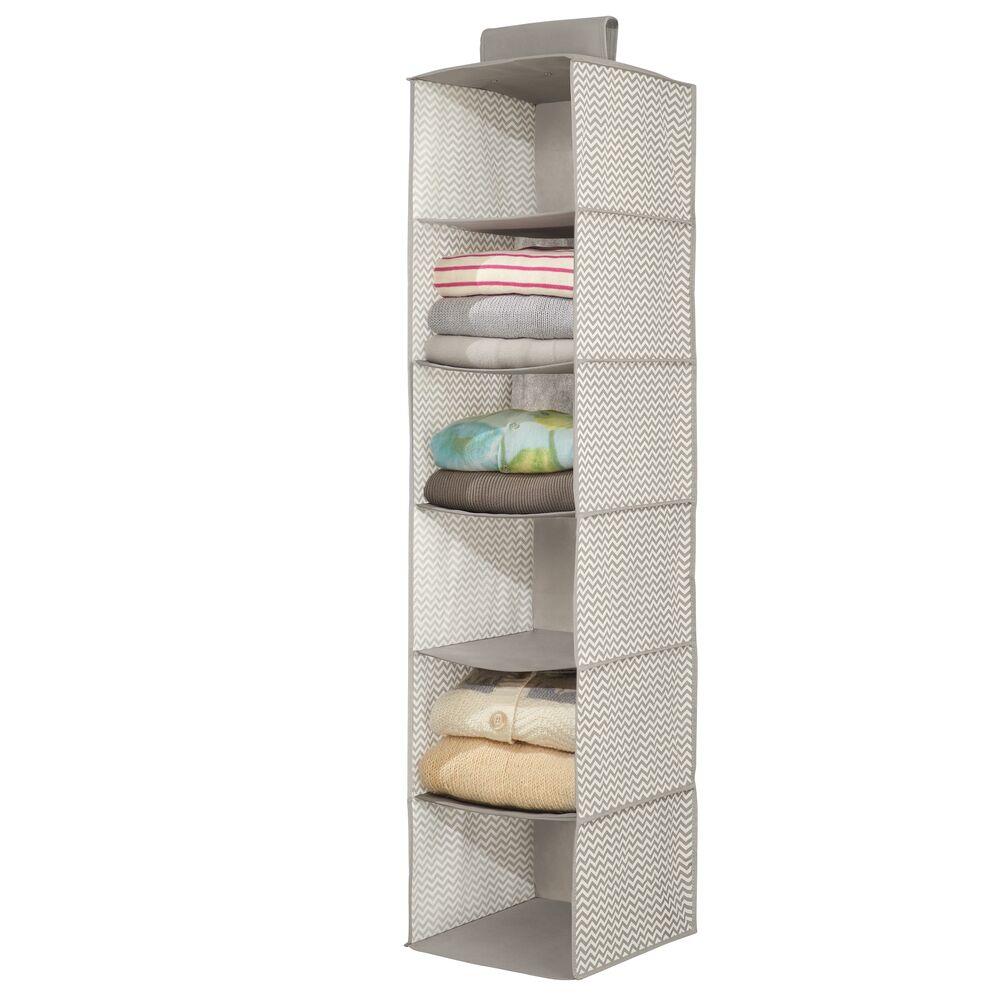 6 Shelf Fabric Hanging Closet Storage Organizer in Taupe/Natural, 11.75