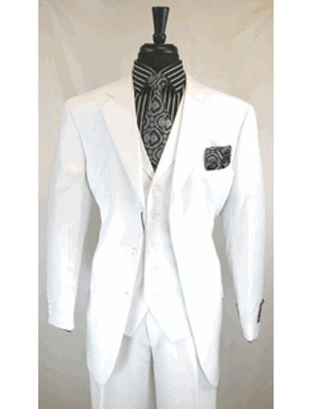 Men's White Single Breasted 3 Button Notch Lapel Pleated Pants Suit