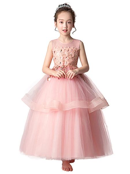 Milanoo Vestidos de niña de las flores Cuello joya Sin mangas Arcos Vestidos de fiesta para niños