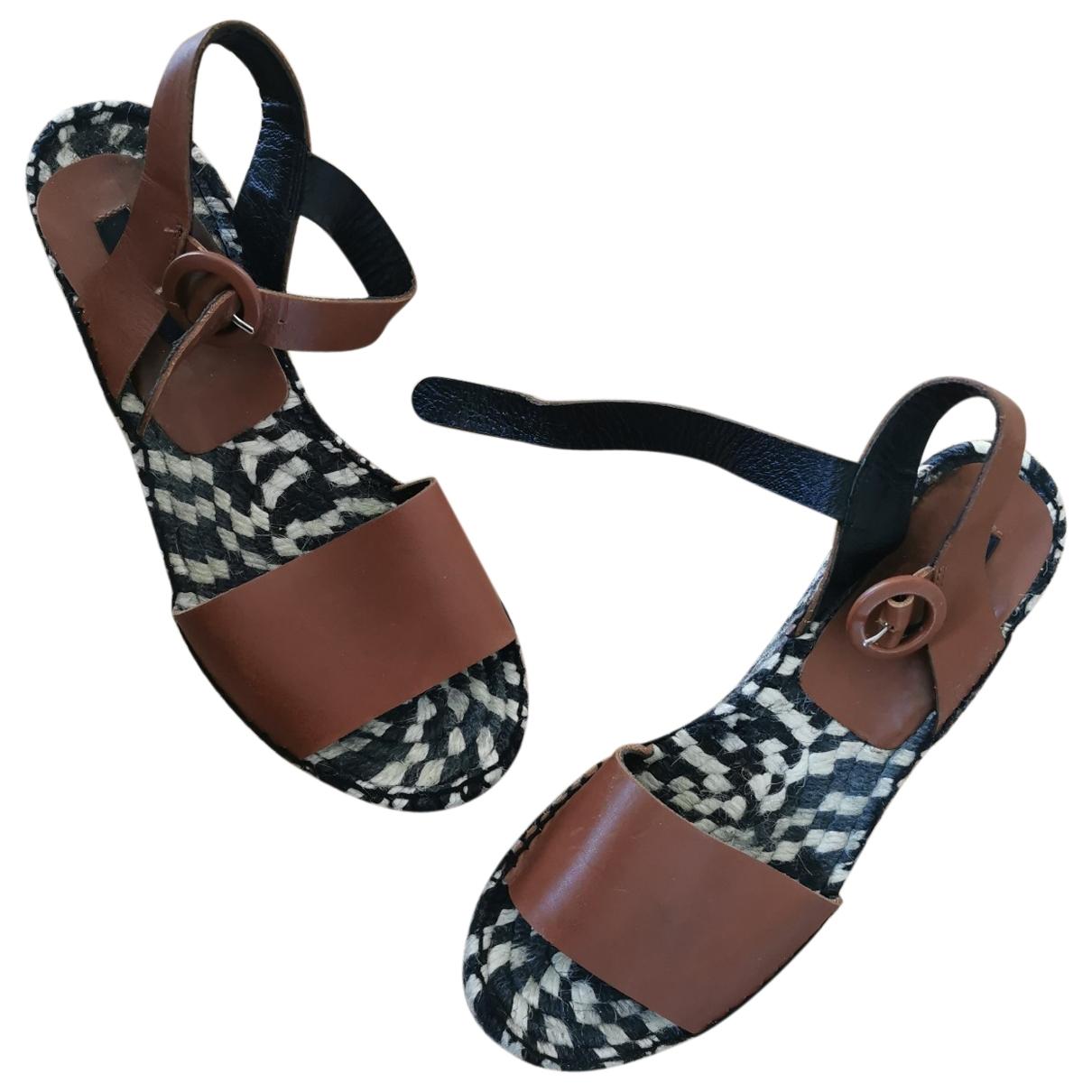 Uterque - Sandales   pour femme en cuir - marron