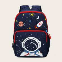 Kids Astronaut & Planet Print Backpack