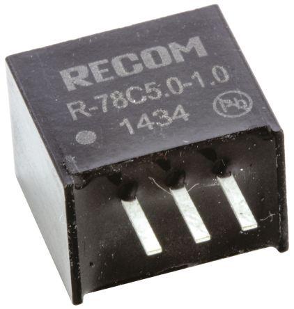 Recom Through Hole Switching Regulator, 5V dc Output Voltage, 8 ? 42V dc Input Voltage, 1A Output Current