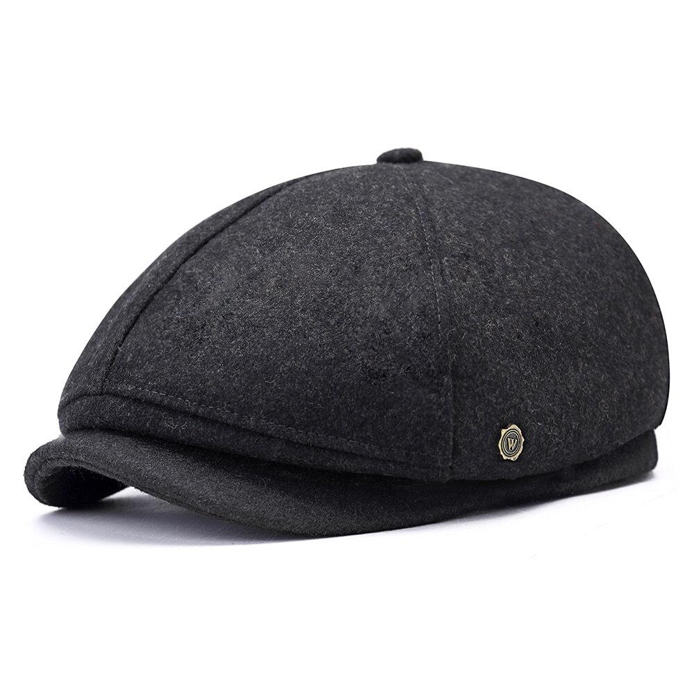 Mens Winter Thicken Warm Wool Beret Cap Outdoor Casual Solid Forward Octagonal Hat