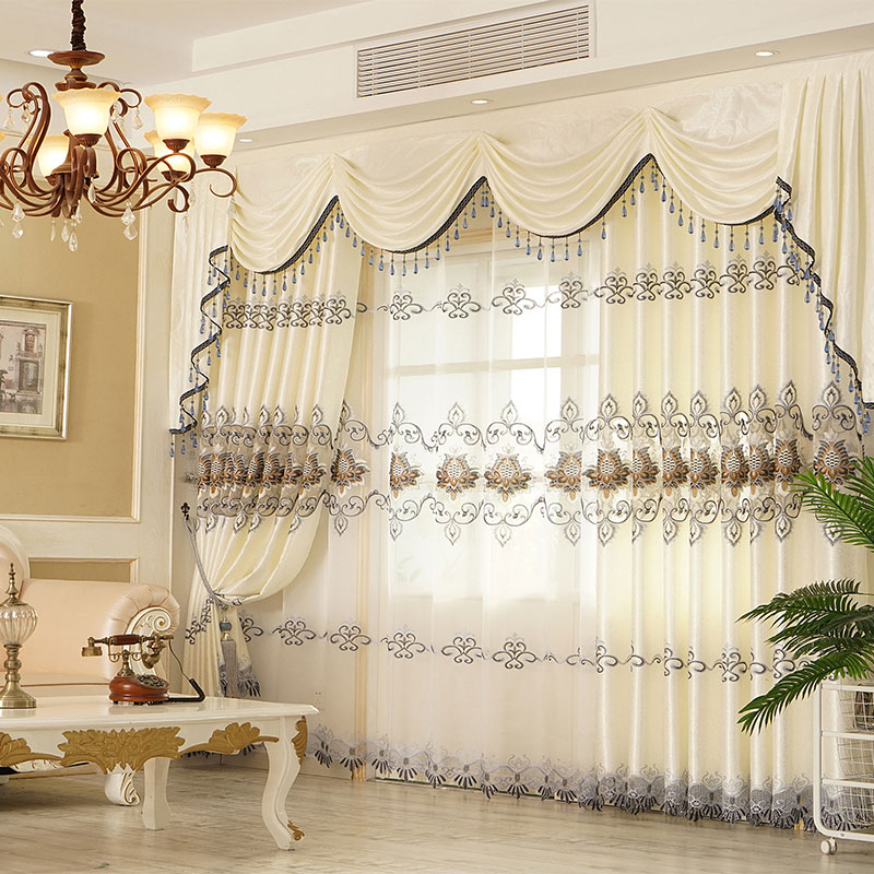 European Chiffon Embroidery Custom Blackout Sheer Curtains Breathable Voile Drapes No Pilling No Fading No off-lining