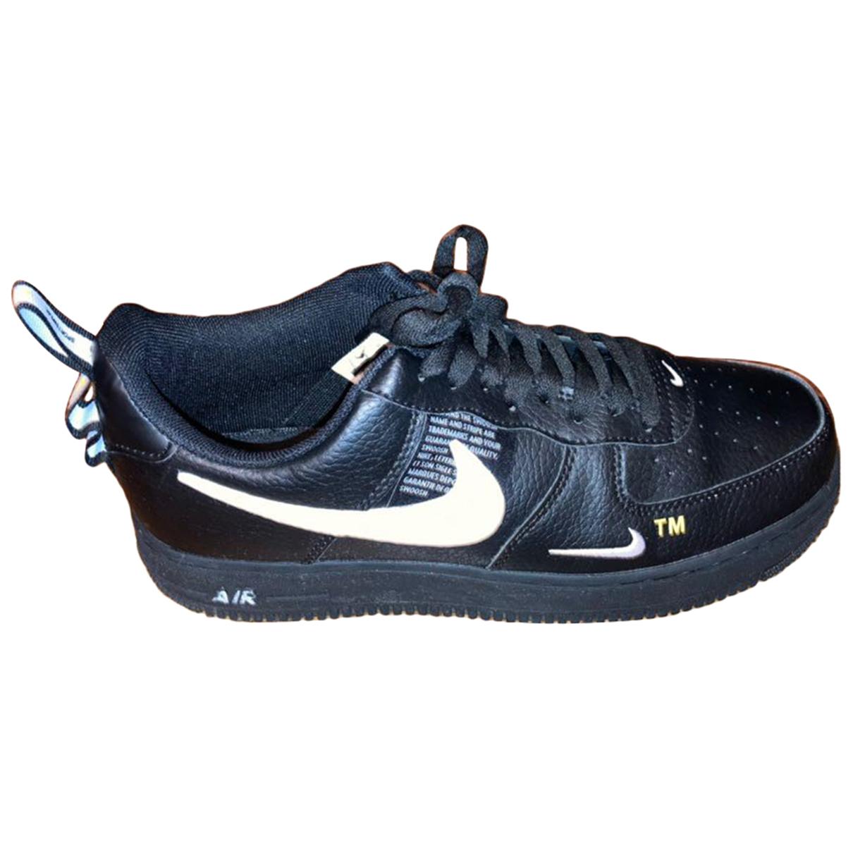Nike - Baskets Air Force 1 pour homme en cuir - noir