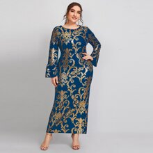 Plus Flounce Sleeve Baroque Print Fitted Dress