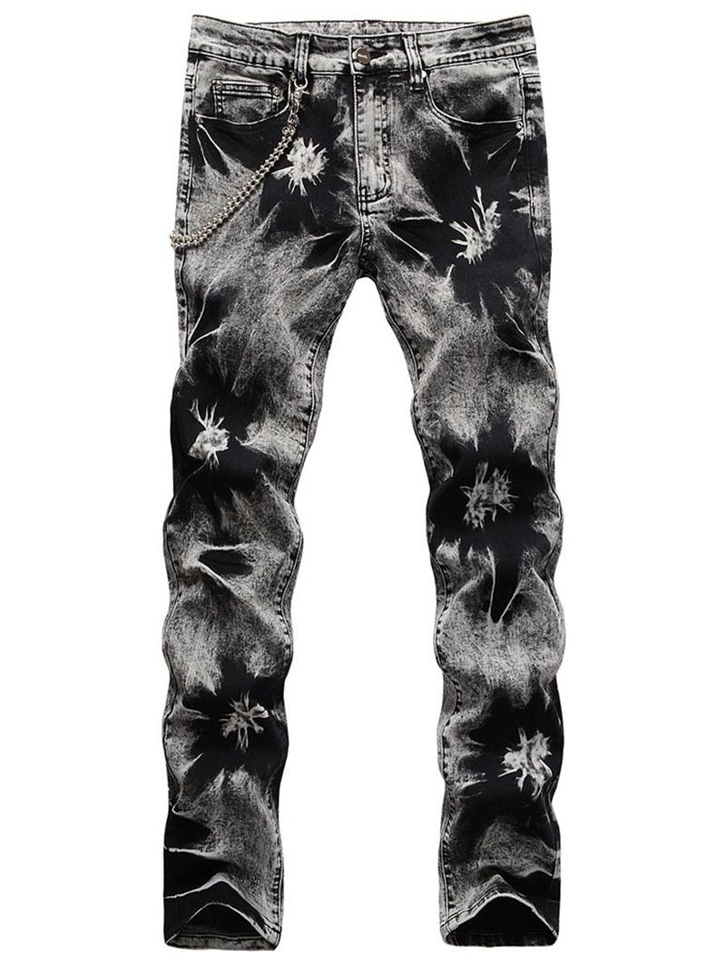 Ericdress Worn Straight Casual Mid Waist Jeans