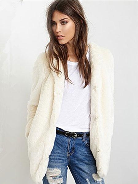 Milanoo Faux Fur Coat Longline Women's Round Collar Ecru White Winter Fluffy Coat