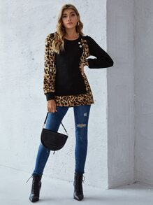 Leopard Panel Ruffle Hem Rib-knit Top
