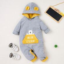 Baby Boy Cartoon Bear & Slogan Graphic Hoodie Jumpsuit