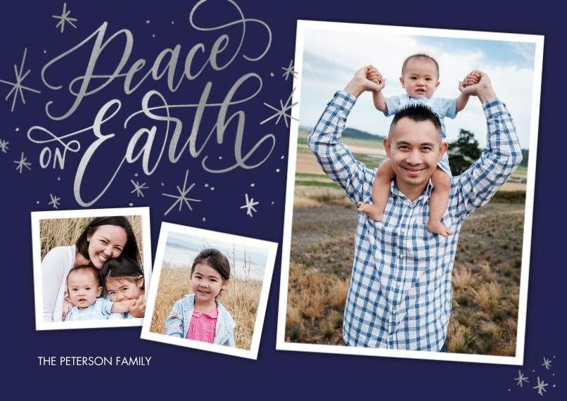 Christmas Photo Cards 5x7 Cards, Premium Cardstock 120lb, Card & Stationery -Christmas Peace on Earth Script by Tumbalina