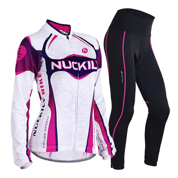 Female Streamline Purple Bike Jersey with Full Zipper Breathable Sponged Cycling Suit