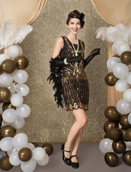 Milanoo Flapper Dress Costume 1920s Fashion Style Vintage Costume Great Gatsby Women's Black Sequined Frock And Frill 20s Party outfits Dress Hallowee