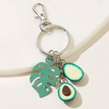 Avocado & Leaf Charm Keychain