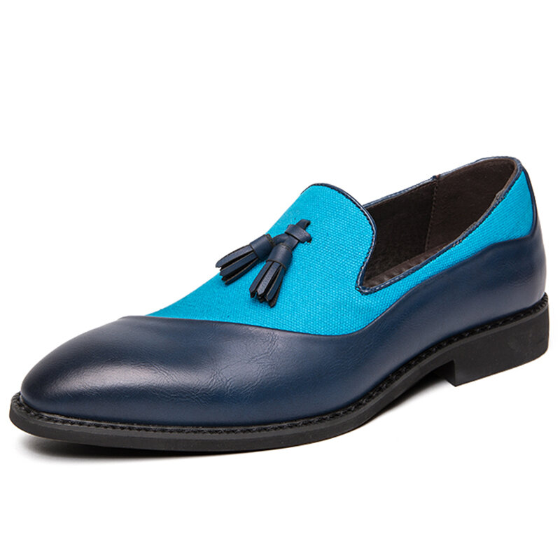 Men Microfiber Leather Cloth Splicing Non Slip Tassel Business Casual Dress Shoes