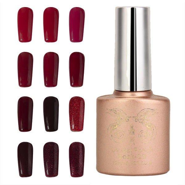 12 Colors 12ml Nano Wine Red Color System Nail Art UV Gel Polish Soak-off