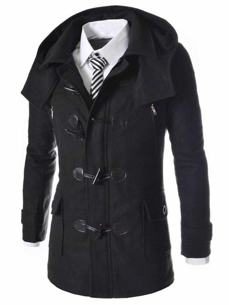 Ericdress Plain Horn Buttons Detachable Hat Casual Men's Wool Coat
