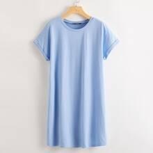 T-Shirt Kleid mit gerollten Manschetten und Dolman Ärmeln