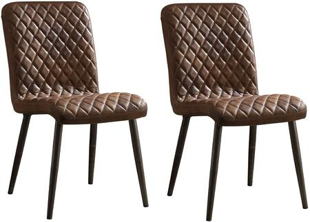 Millerton Collection 70423 Set of 2 Side Chairs with Diamond Pattern  High Back  Vintage Chocolate Top Grain Leather Upholstery and Metal Tapered