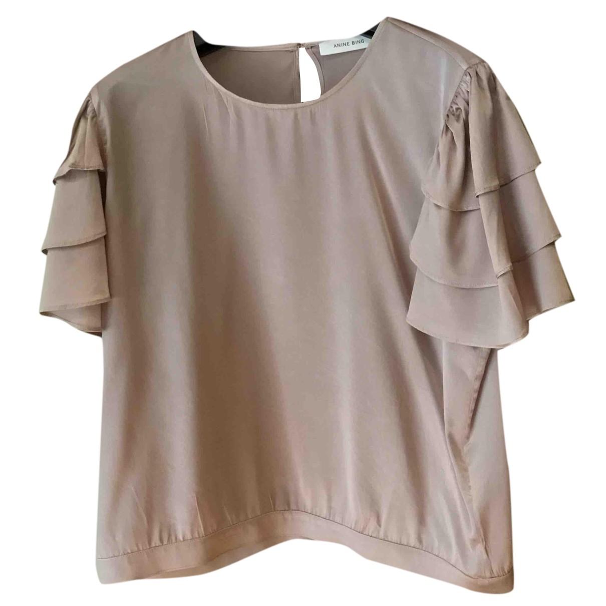 Anine Bing - Top   pour femme en soie - rose