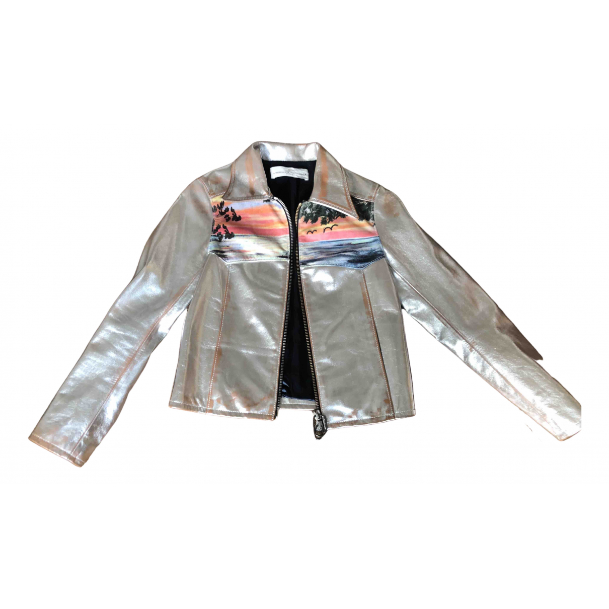 Golden Goose \N Silver Leather jacket for Women S International