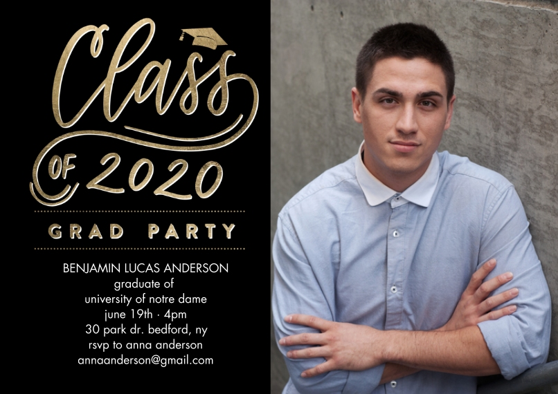 2020 Graduation Invitations 5x7 Cards, Premium Cardstock 120lb, Card & Stationery -Grad Party 2020 Simple by Tumbalina
