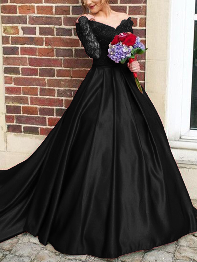Ericdress Off The Shoulder Appique Long Sleeve Evening Dress With Train