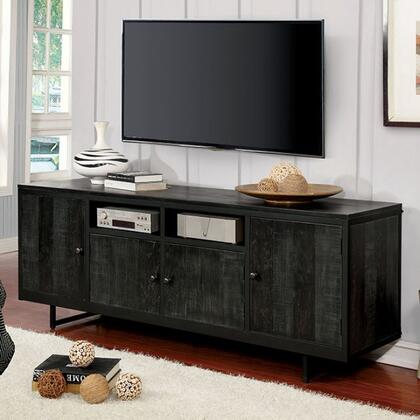 Regua Collection CM5675-TV 19 TV Stand with Metal Frame Construction  Round Black Knobs and Multiple Shelves in