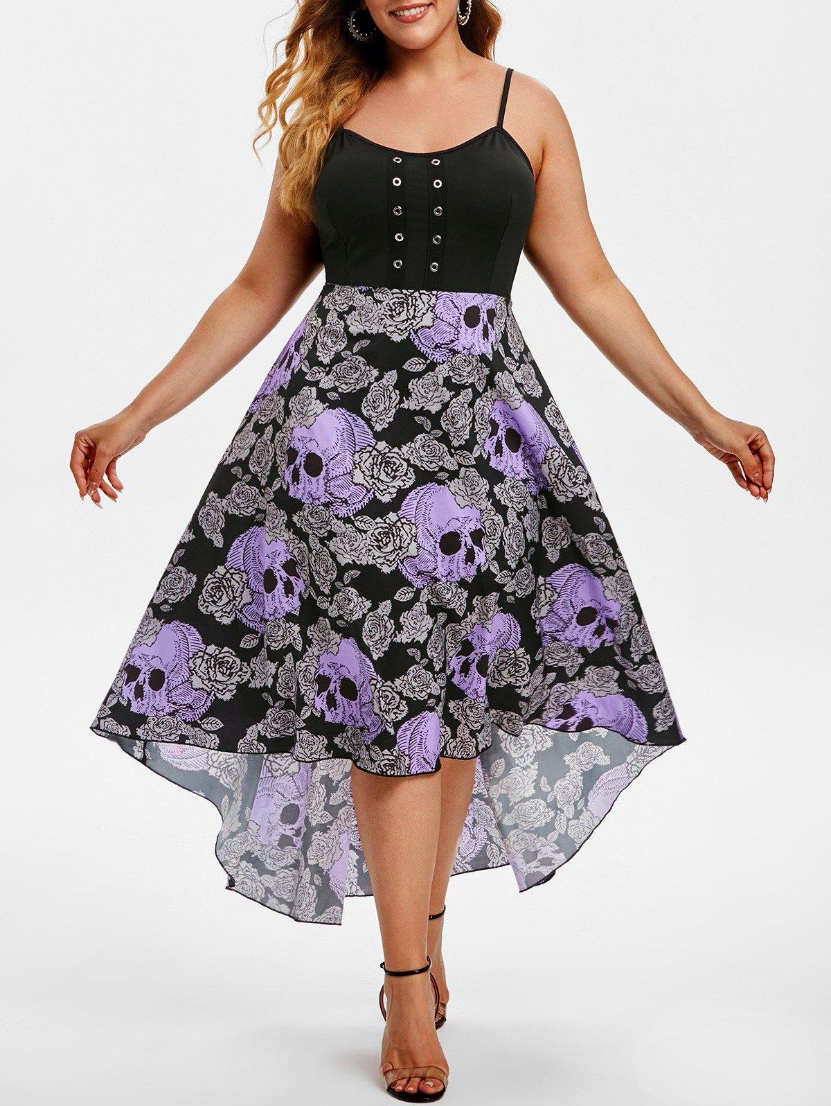 Grommet High Low Floral Skull Halloween Plus Size Dress